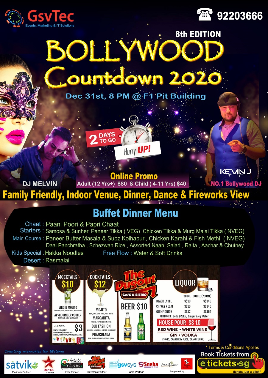 bollywood new year eve party 2020 at f1 pit building